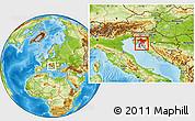 Physical Location Map of Primorje-Gorski Kotar