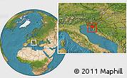 Satellite Location Map of Primorje-Gorski Kotar