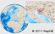 Shaded Relief Location Map of Primorje-Gorski Kotar