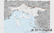 Gray Panoramic Map of Primorje-Gorski Kotar