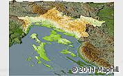 Physical Panoramic Map of Primorje-Gorski Kotar, darken