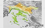 Physical Panoramic Map of Primorje-Gorski Kotar, desaturated