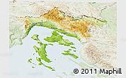 Physical Panoramic Map of Primorje-Gorski Kotar, lighten
