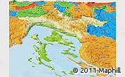 Physical Panoramic Map of Primorje-Gorski Kotar, political outside