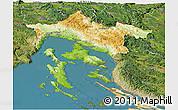 Physical Panoramic Map of Primorje-Gorski Kotar, satellite outside