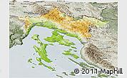 Physical Panoramic Map of Primorje-Gorski Kotar, semi-desaturated