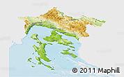 Physical Panoramic Map of Primorje-Gorski Kotar, single color outside