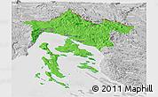 Political Panoramic Map of Primorje-Gorski Kotar, lighten, desaturated