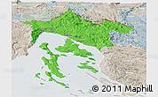 Political Panoramic Map of Primorje-Gorski Kotar, lighten, semi-desaturated