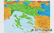 Political Panoramic Map of Primorje-Gorski Kotar