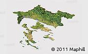 Satellite Panoramic Map of Primorje-Gorski Kotar, cropped outside