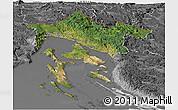 Satellite Panoramic Map of Primorje-Gorski Kotar, desaturated