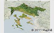 Satellite Panoramic Map of Primorje-Gorski Kotar, lighten