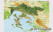 Satellite Panoramic Map of Primorje-Gorski Kotar, physical outside
