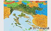 Satellite Panoramic Map of Primorje-Gorski Kotar, political outside