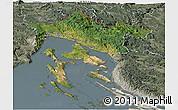 Satellite Panoramic Map of Primorje-Gorski Kotar, semi-desaturated