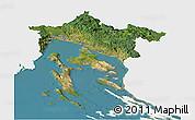 Satellite Panoramic Map of Primorje-Gorski Kotar, single color outside