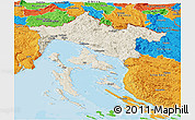 Shaded Relief Panoramic Map of Primorje-Gorski Kotar, political outside
