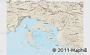 Shaded Relief Panoramic Map of Primorje-Gorski Kotar