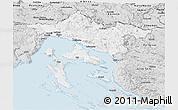 Silver Style Panoramic Map of Primorje-Gorski Kotar