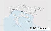 Silver Style Panoramic Map of Primorje-Gorski Kotar, single color outside