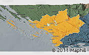 Political 3D Map of Sibenik, darken, semi-desaturated