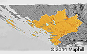 Political 3D Map of Sibenik, desaturated