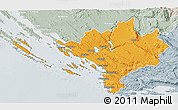 Political 3D Map of Sibenik, lighten, semi-desaturated