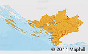 Political 3D Map of Sibenik, single color outside