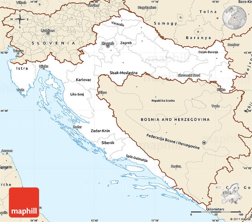 Classic Style Simple Map of Croatia