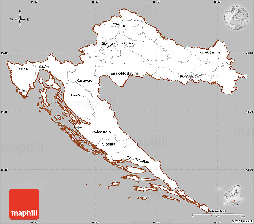 Gray simple map of croatia cropped outside 2d gumiabroncs Images