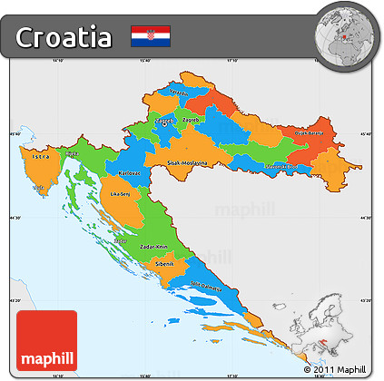 Free Political Simple Map of Croatia single color outside