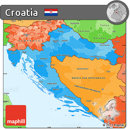 Free Political Shades Simple Map of Croatia