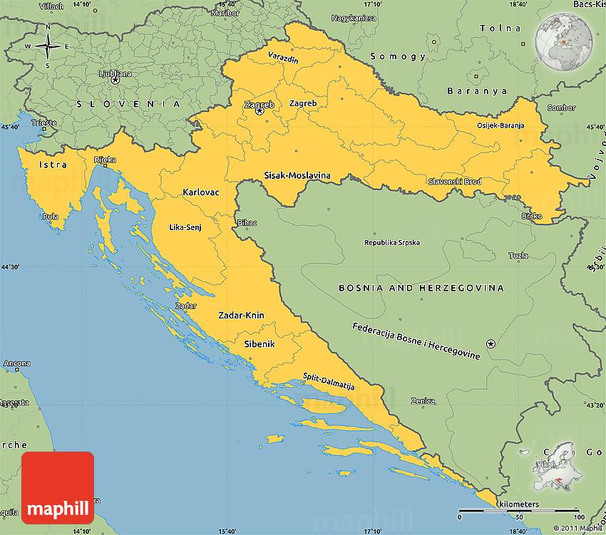 Simple Site Map: Savanna Style Simple Map Of Croatia