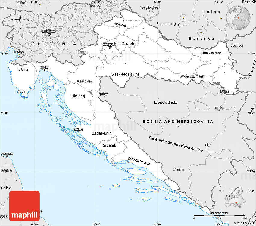 Silver Style Simple Map of Croatia