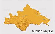 Political 3D Map of Sisak-Moslavina, cropped outside
