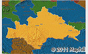 Political 3D Map of Sisak-Moslavina, darken
