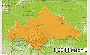 Political 3D Map of Sisak-Moslavina, physical outside