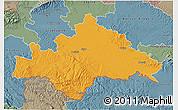 Political 3D Map of Sisak-Moslavina, semi-desaturated