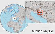 Gray Location Map of Sisak-Moslavina