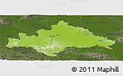 Physical Panoramic Map of Sisak-Moslavina, darken