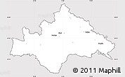 Silver Style Simple Map of Sisak-Moslavina, cropped outside