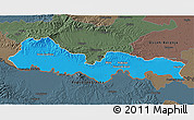 Political 3D Map of Slavonski Brod-Posavina, darken, semi-desaturated