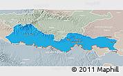 Political 3D Map of Slavonski Brod-Posavina, lighten, semi-desaturated