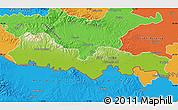 Physical Map of Slavonski Brod-Posavina, political outside