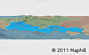 Political Panoramic Map of Slavonski Brod-Posavina, semi-desaturated