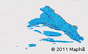 Political 3D Map of Split-Dalmatija, cropped outside