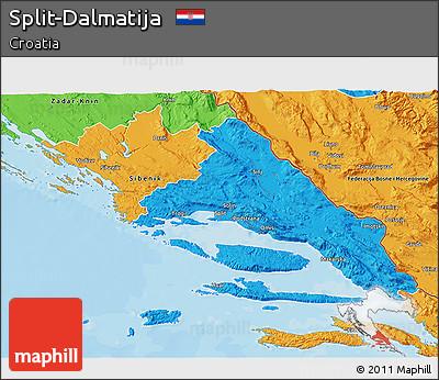 Political 3D Map of Split-Dalmatija