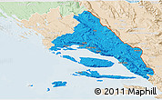 Political 3D Map of Split-Dalmatija, lighten