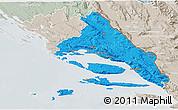 Political 3D Map of Split-Dalmatija, lighten, semi-desaturated